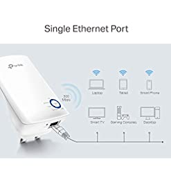 TP-Link TL-WA850RE N300 Universal Range Extender, Broadband/Wi-Fi Extender, Wi-Fi Booster/Hotspot with 1 Ethernet Port, Plug and Play, Built-in Access Point Mode, UK Plug
