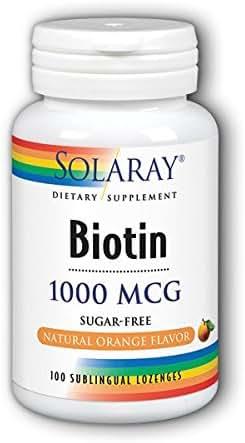 Biotin 1000mcg Orange Lozenges Solaray 100 Lozenge