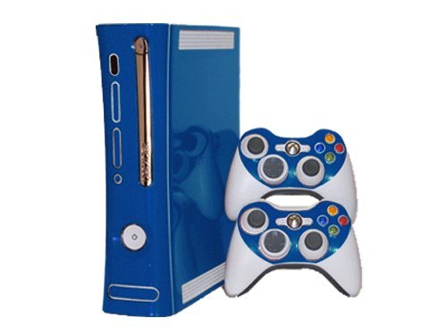 Microsoft Xbox 360 Skin (1st Gen) - NEW - OCEAN BLUE system skins faceplate decal mod (Console 360 Skins 1st Xbox Gen)