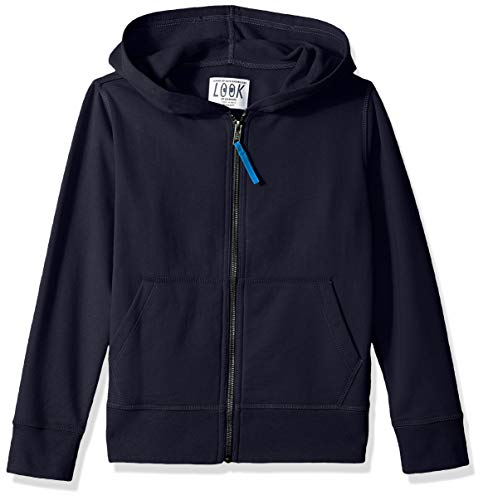 LOOK by Crewcuts Boys' Zip Front Hoodie, Navy, X-Small (4/5)