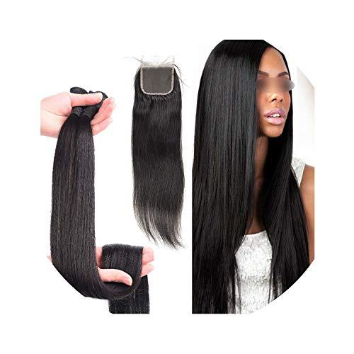 30 inch 40 inch bundles with closure Straight Virgin Remy brazilian hair weave bundles human hair extension 3 bundles 4 bundles,32 32 32 with 20 ()