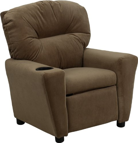 Contemporary Brown Microfiber Kids Recliner with Cup ()