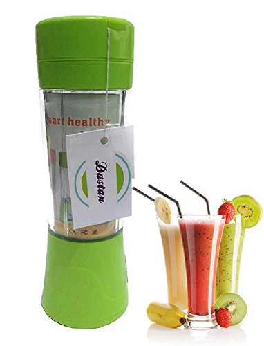 Dastan Small Personal Blender Bottle, Portable Juicer Cup, Personal Size Electric Rechargeable Blender, Fruit Mixer, Water Bottle, 380ml with Free USB Charger Cable (Green, Pink, Purple and Blue)