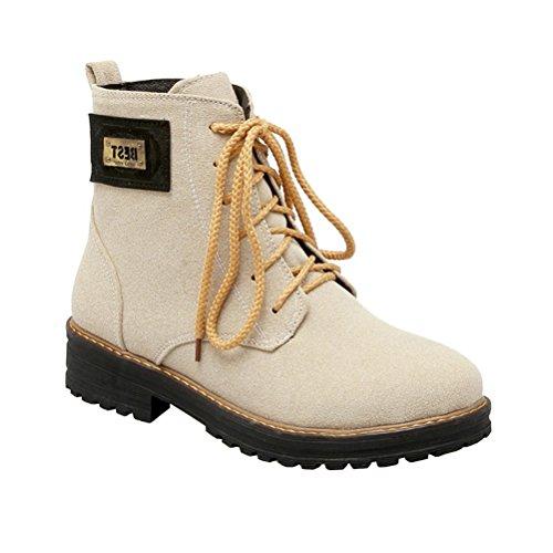 Shoes Womens Beige Up Agodor Boots Nubuck Block Lace Leather Ankle Heel Retro Platform Low gn7C1x7qwB