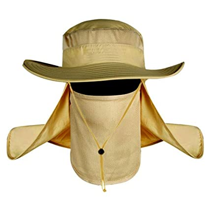 Fashion Summer Outdoor Sun Protection Fishing Cap Neck Face Flap Hat Wide  Brim (Khaki) 28001629e248