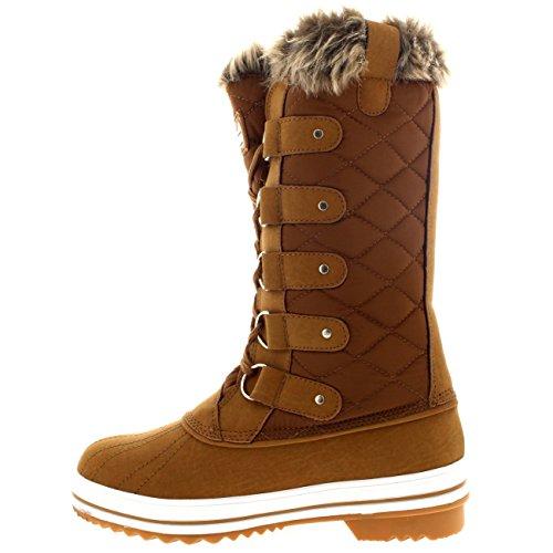 Tanné Pluie Fourrure Chaleureux Chaussures Matelassé Femmes Lacer Neige Botte Pq8an1Aw