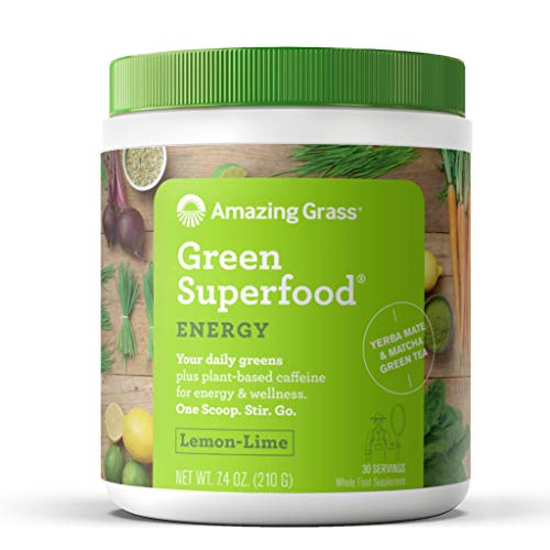 Amazing Grass Energy Green Superfood Organic Powder, Natural Caffeine with Wheat Grass, 7 Greens, Yerba Mate and Matcha Green Tea, Flavor: Lemon Lime, 30 Servings