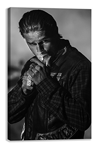 Sons Of Anarchy Motorbike 2 Jax Teller Charlie Hunman Canvas Wall Art  30  X 18