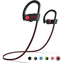 LETSCOM Bluetooth Headphones IPX7 Waterproof, Wireless Sport Earphones Bluetooth 4.1, HiFi Bass Stereo Sweatproof Earbuds w/Mic, Noise Cancelling Headset for Workout, Running, Gym, 8 Hours Play Time