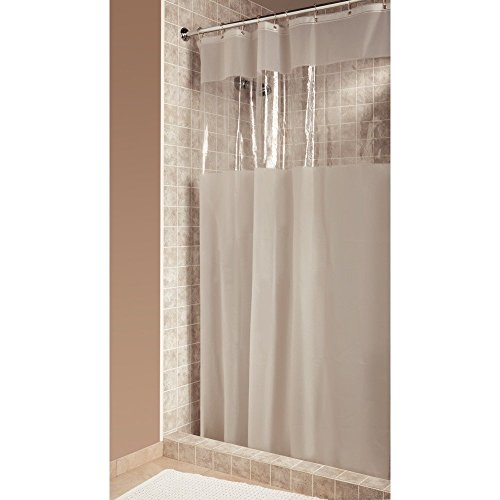 InterDesign Hitchcock Shower Curtain, Stall 54 x 78, Clear - Shower Curtain See Through Top