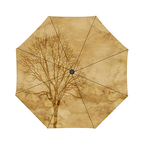 Paper Parchment Tree Kahl Autumn Pattern Windproof Compact One Hand Auto Open and Close Folding Umbrella, Compact Travel Umbrella Folding Rain Outdoor Umbrellas