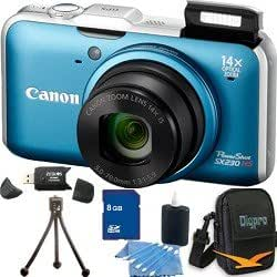 """Canon Powershot SX230 HS Digital Camera (Blue) 12.1MP CMOS Sensor, 14x 28-392mm Super Telephoto Zoom Lens, Built-In GPS, 3"""" High Resolution LCD Monitor. Kit Includes 8 GB Memory Card, Card Reader, Carrying Case, Mini Tripod, and More."""