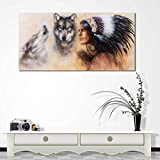 BFY Frameless Abstract Oil Painting Native American Indians Huge Wall Decor Art On Canvas