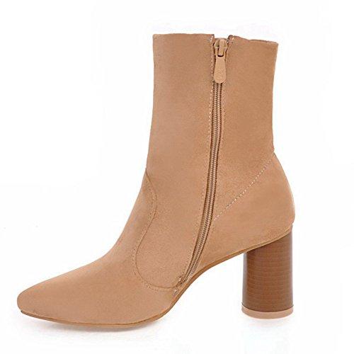 DecoStain Women's high heels high top Zipper Bootie Brown JZRf1C2SI
