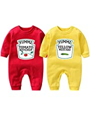 YSCULBUTOL Baby Bodysuit Yummz Tomato Ketchup Mustard Red Yellow Twins Set Boys Girls Clothes Twins Baby Outfits