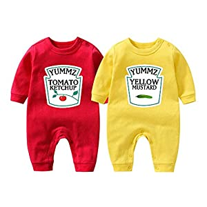 """Culbutomind Tutina per neonati con scritta """"Yummz Pomodoro Ketchup"""", mostarda, rosso, giallo, completo bimbi e bimbe… 9"""