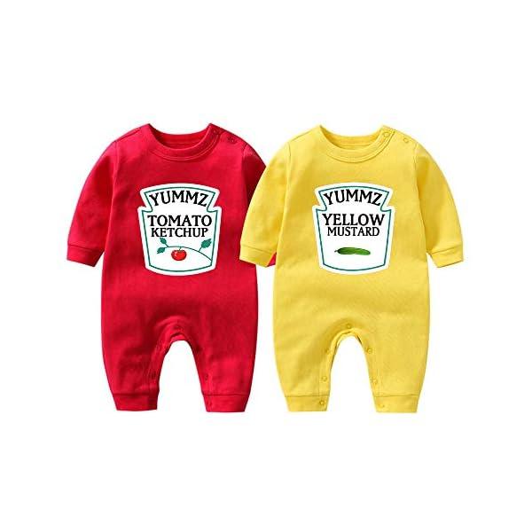 """Culbutomind Tutina per neonati con scritta """"Yummz Pomodoro Ketchup"""", mostarda, rosso, giallo, completo bimbi e bimbe… 1"""