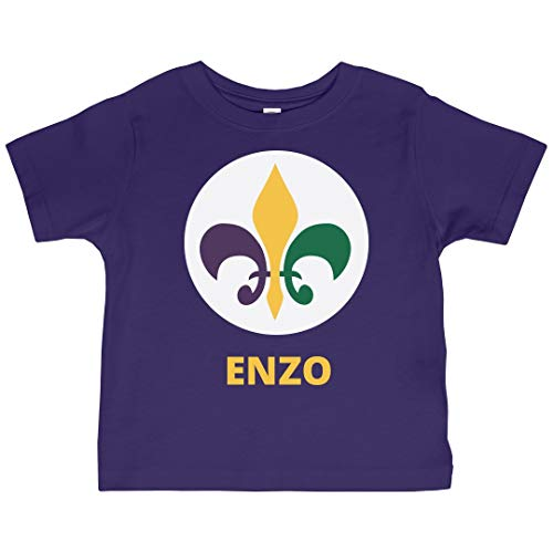Kids Fat Tuesday Fleur De Lis Enzo: Jersey Toddler T-Shirt Purple