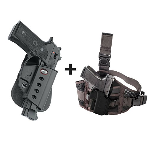 Fobus BRV Paddle Passive Retention Holster Beretta Vertec & Elite .40cal, 92A1, 96A1, 92FS, 92FS Compact, M9A3 + EXND Thigh Rig Platform