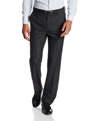 Black Pinstripe Pant Suit (Haggar Men's Shadow Pin Stripe Tailored Fit Flat Front Suit Separate Pant, Black, 34Wx30L)