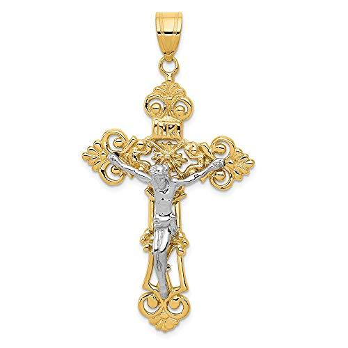 14K Two Tone Gold INRI Fleur De Lis Crucifix Pendant ()