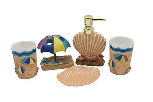 Hot-San-Resin-5-Pieces-Bathroom-Accessory-Set-Summer-Beach-And-Seashell-Design-EmsembleBathroom-VanitiesHome-Decor