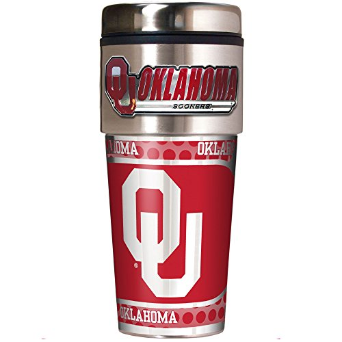 NCAA Oklahoma Sooners Metallic Travel Tumbler,  16-Ounce Oklahoma Sooners Stainless Travel Mug