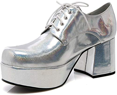 "Mens Silver Platform 3"" Heel Halloween Shoes Small 8-9"
