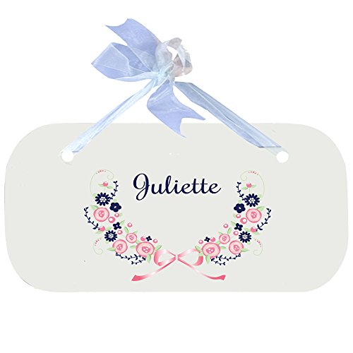 Personalized Navy Pink Floral Garland Wooden Door Hanger With Blue Ribbon by MyBambino