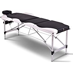 """Giantex 72""""L 3 Section Portable Massage Table Aluminum Facial SPA Bed Tattoo w/Free Carry Case (Main:Black)"""