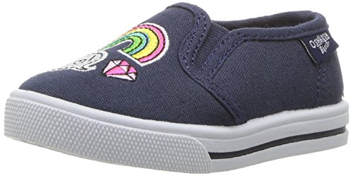 OshKosh B'Gosh Patchy Girl's Slip-On Sneaker, Navy/Multi, 10 M US Toddler