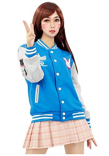 DAZCOS US Size Cotton Blue Baseball Letterman Jackets with Pockets (Women Medium)
