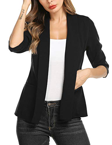 Dealwell Plus Size Casual Blazers for Women Long Sleeve Open Front Short Jacket Jersey Knit Suit Black X-Large ()