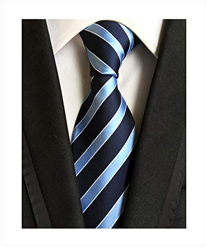 - Blue Navy Stripe Holiday Neckties Silk Tie Suit Fitness Dating For Men Youth Boy