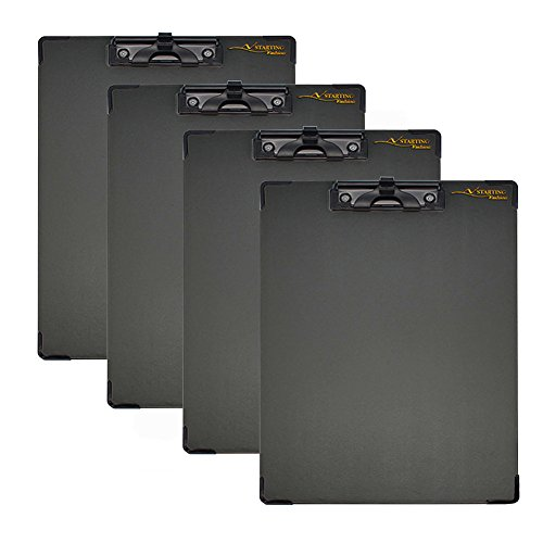 Little-Feet Set Of 4 PVC Paper Clipboard, Sturdy Durable Low Profile Clip, A4 Document Holder (12''x9''), Hardboard With Pen Holder, Stationery Accessories.
