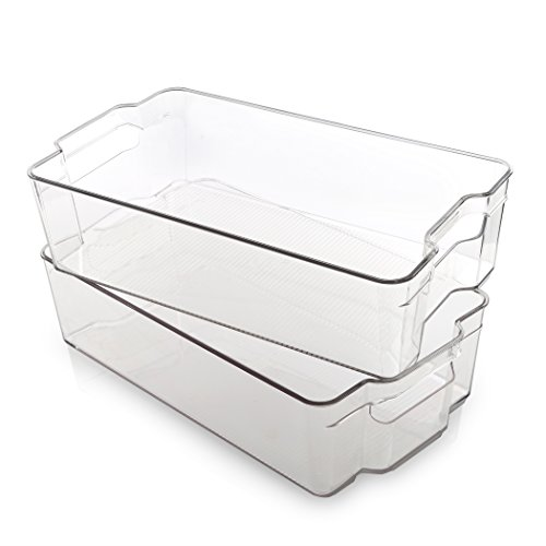 ngular Plastic Storage Organizer Bin, X-Large - 2 Pack - Clear and Transparent Nesting Container for Home and Kitchen ()