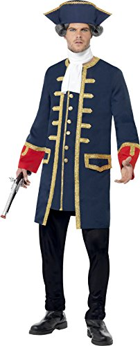 Smiffy's Men's Pirate Commander Costume, Blue, with Coat, Cravat and Hat, Pirate, Serious Fun, Size L, 24168