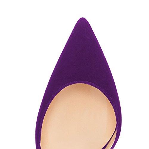 Bombas De Punta Fina Elegante De Las Mujeres De Fsj Tacón De Aguja De Dofsay Alto Resbalón En Las Zapatillas Formales Tamaño 4-15 Us Purple