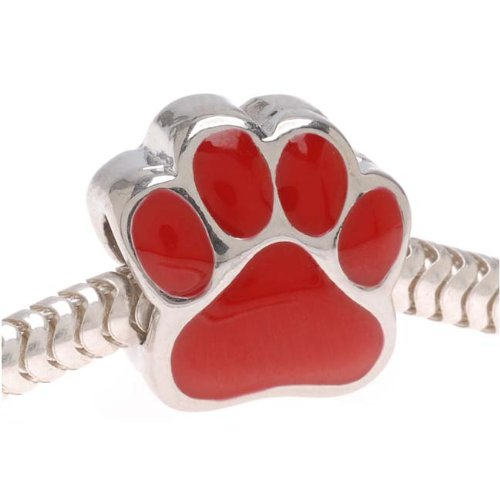 Beadaholique Large Hole Paw Print Bead, Fits Pandora, Silver Tone with Red - Print Bead Enamel Paw