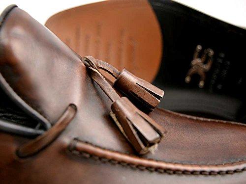 Romeo - Coffee Deco Leather - Mocassins à Pampilles en Cuir pour Hommes Votre propre luxe personnalisé en cuir déco hommes gland mocassin, 100% fait à la main en Italie