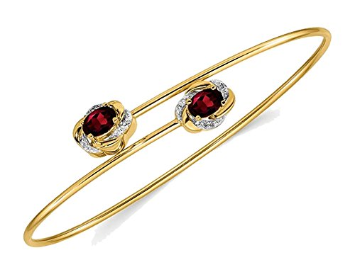 (14K Yellow Gold Natural Garnet Bangle Bracelet with Diamond Accents )
