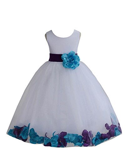Wedding Pageant Mixed Petals White Flower Girl Dress Toddler Junior Bridesmaid 302t 2