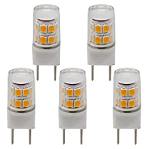 ZXLN G8 LED Bulb Warm White 2700K 2.5W 25W Equivalent Halogen Lamp Puck Lights, Under Counter Kitchen Lighting Non-Dimmable AC110V-130V(Pack of 5)