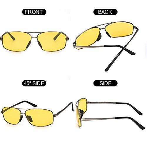 100 UVB Rayos Amarilla Amarillo Contra ELIVWR Protección Reflectante Polarizadas Anti Rectangulares UVA Conduccion Los Metal de Gafas Dañi Gris Nocturna Ultraligero Hombre FUxgPwq