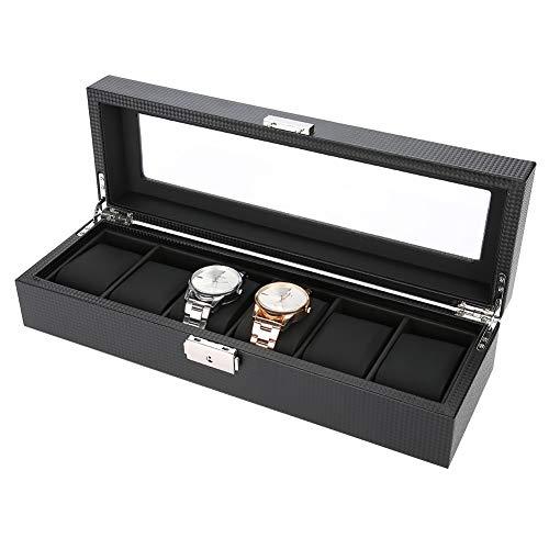 Estuche de Almacenamiento de Relojes, Caja de Relojes para 6 Grids Relojes o Joyeria Organizadora y Exhibición, Cuero de PU...