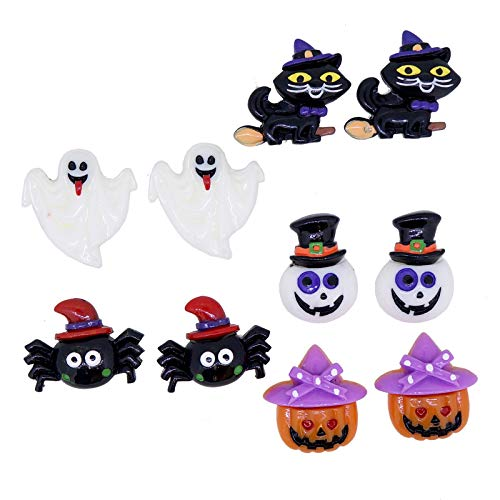 Bat Scream Ghost Mark Spider Pumpkin Clip On Earrings Halloween Party Jewelry Costume -