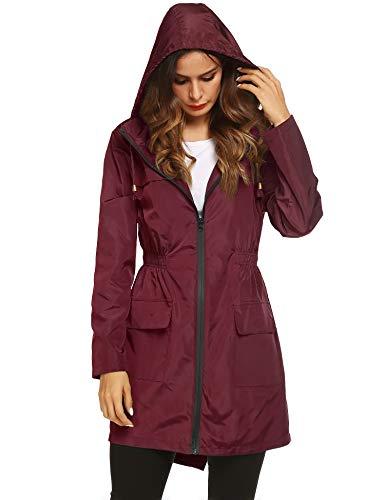 LOMON Women Waterproof Lightweight Rain Jacket Active Outdoor Hooded Raincoat (XXL, Wine - Pocket Two Hooded Coat