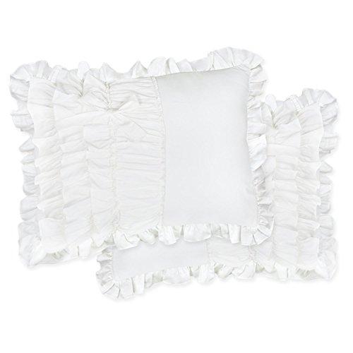 TEALP Ruffle Sham Pillowcase Cotton Pillow Sham, Standard, White