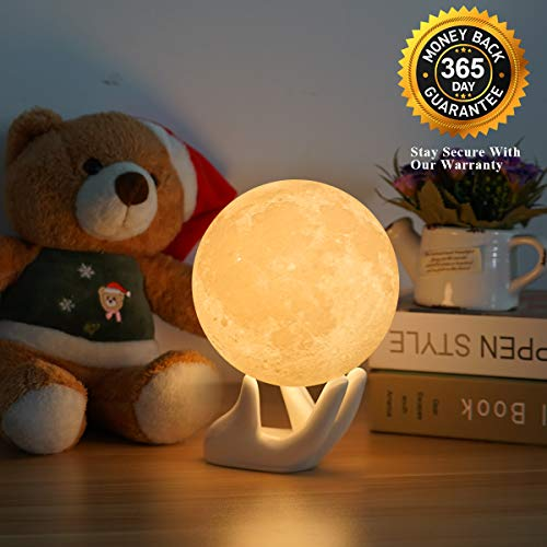 3D Moon Lamp Night Light Birthday Gifts for Women for Kids Gift,Baby Night Light Bedside Lamp with USB Port,Eye Caring LED,Adjustable Brightness and Two Color,Touch Control (3.5IN with Ceramic Base) ()