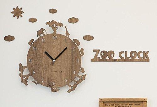 ハンドメイドの壁掛け時計 ZOO CLOCK 動物シリーズ (ライトブラウン) B01A83NLNQ